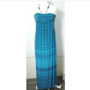 Valerie Bertinelli Maxi Halter Dress Sz 6 Teal Blk